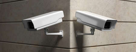 Surveillance CCTV Cameras. Security cam outdoors against marble wall background, banner. 3d illustration Imagens