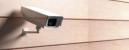 Surveillance CCTV Camera. Security cam against brown color wall background, banner, copy space. 3d illustration