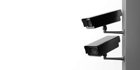 Surveillance cameras. CCTV Security cam isolated cutout against white background, copy space. 3d illustration Imagens
