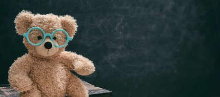 Back to school. Smart kid in class, cute teddy wearing blue eyeglasses against blank chalk blackboard, banner, copy space.