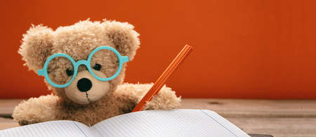 Back to school concept. Smart kid cute teddy wearing blue eyeglasses studying and doing homework, orange color background, banner Stock Photo