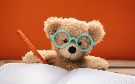 Back to school concept. Smart kid cute teddy wearing blue eyeglasses studying and doing homework, orange color background
