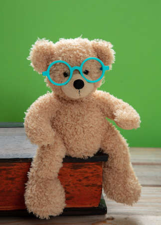 Back to school. Smart kid, cute teddy wearing eyeglasses sitting on a big book against green color background