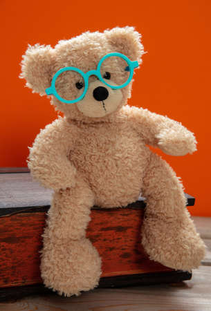 Back to school. Smart kid, cute teddy wearing eyeglasses sitting on a big book against orange color background