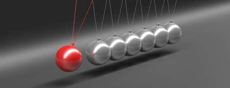 Balance, teamwork concept. Newtons cradle balancing balls one red swinging against gray black background, banner. 3d illustration