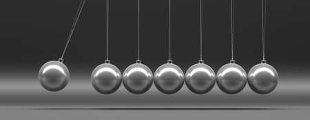Balance, teamwork concept. Newtons cradle, silver balancing balls swinging against gray black background, banner. 3d illustration 스톡 콘텐츠 - 130112303