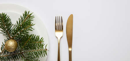 Christmas, new year dinner table setting. Fir tree twig on white set of dishes, white background, banner, top view