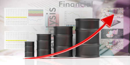 Oil price increase. Fuel barrels bar chart, red line going up, financial data analysis background, 3d illustration