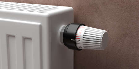 Radiator with thermostat detail closeup view. Heating temperature control, cost saving. 3d illustration