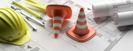 Construction and safety concept. Building project blueprint plans, banner. Architecture design. 3d illustration