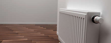 Radiator with thermostat, room interior, banner, copy space. Heating temperature control, cost saving. 3d illustration
