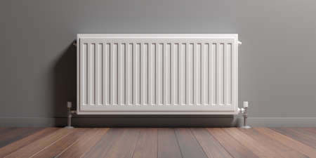 Radiator, room interior, wood floor, gray painted wall, Central heating installation, warm home. 3d illustration