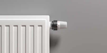 Radiator with thermostat, grey wall background, copy space. Heating temperature control, cost saving. 3d illustration