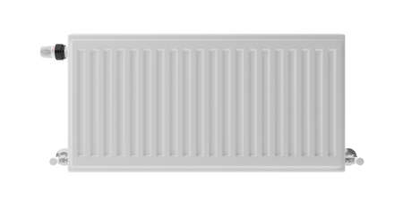 Radiator with thermostat isolated cutout against white background. Central heating installation. 3d illustration 写真素材