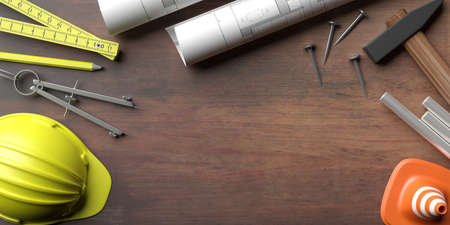 Building construction blueprints, safety and engineering tools on wood, copy space. Construction site office desk. 3d illustration