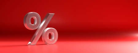 Percentage sign glass texture against red color curved background, banner, copy space. 3d illustration Stok Fotoğraf