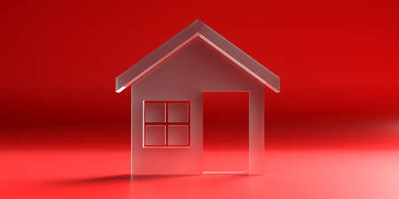 Home, real estate concept. House model glass texture against red color curved background. 3d illustration