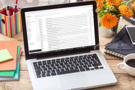 Athens, Greece. September 18, 2019. Gmail on the computer screen. Emails list on laptop, home office desk background Editoriali