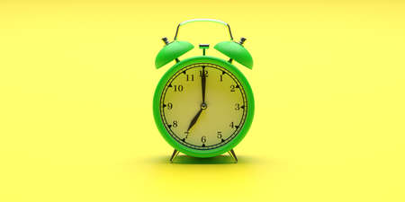 Time, wake up concept. Alarm clock vintage green color on yellow background. 3d illustration Stock Photo