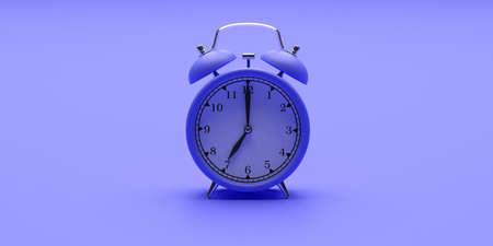 Time, wake up concept. Alarm clock vintage blue color on blue background. 3d illustration