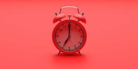 Time, wake up concept. Alarm clock vintage red color on red background. 3d illustration