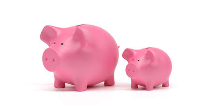 Savings for children concept. Piggy bank big and small, pink color, isolated against white background. 3d illustration