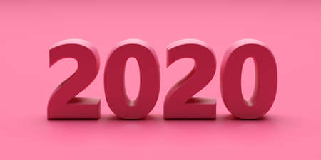 2020 new year concept. 2020 new year pink color on pink background. 3d illustration