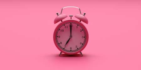 Time, wake up concept. Alarm clock vintage pink color on pink background. 3d illustration