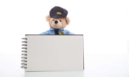 Police and ticket concept. Cute teddy bear in police officer uniform holding a blank pad isolated against white background, copy space