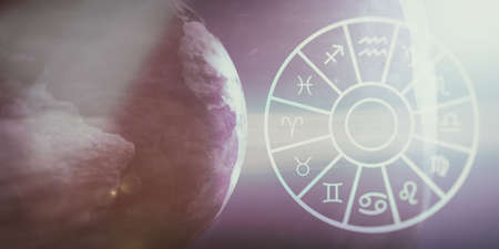 Astrology and horoscopes concept. Astrological zodiac signs wheel on earth and space background