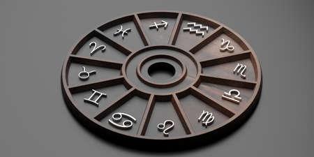 Concetto di astrologia e oroscopi. Lo zodiaco astrologico firma la ruota di legno su fondo nero. illustrazione 3D