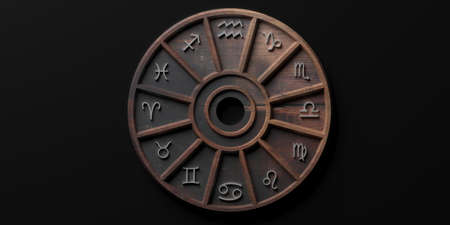 Astrology and horoscopes concept. Astrological zodiac signs wood wheel on black background. 3d illustration