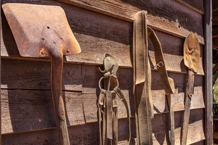 Rusty shovels and worn out leather belts hanging on a wooden wall, sunny spring day in Calico ghost town, California