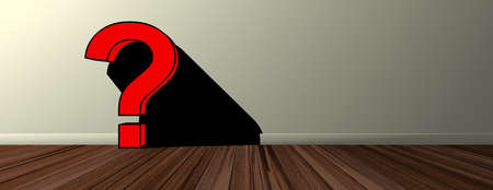 Red question marks against wood floor and wall background, pop art, cartoon, banner, copy space