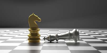 Winner, chess knight checkmate concept. Chess horse gold standing, silver king down, chessboard background. 3d illustration Banco de Imagens