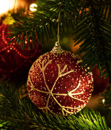 Christmas tree ornament decoration. Xmas ball red color decorated hanging on a fir branch, closeup view