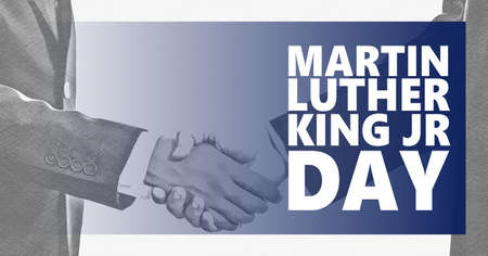 Martin Luther King jr day text. Black and white shaking hands background. MLK day, US national holiday, equality, stop racism concept.