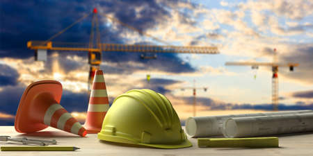 Contractor site office concept. Project construction blueprints and engineering tools on wooden desk, blur construction cranes and sky background. 3d illustration
