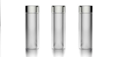 Cosmetic bottles template. Blank containers with lids isolated on white background, perfume deodorant product packaging. 3d illustration Stockfoto