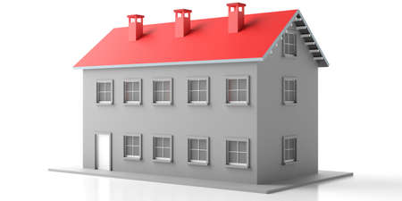 House two storey model. Apartment building with red roof isolated against white background. 3d illustration 版權商用圖片