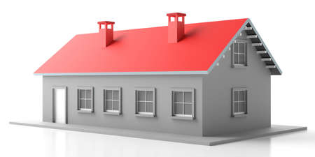 House model. Warm cozy home toy with red roof isolated against white background. 3d illustration