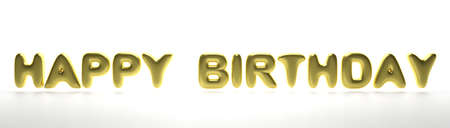 Happy birthday wishes. Balloon letters gold color text flying isolated on white background, banner. 3d illustration