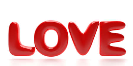 Love word. Sparkle and bubble passion red color text isolated on white background. Balloon letters flying. 3d illustration