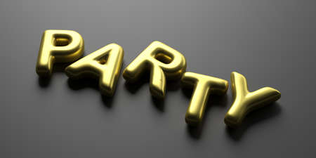Party word. Sparkle and bubble gold color text on black background. Balloon letters, close up view. 3d illustration