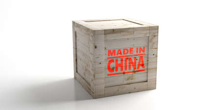 Made in China text on a crate isolated against white background. Chinese product, industry, export trade. 3d illustration