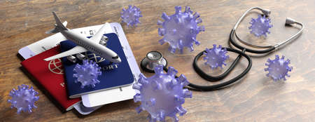 Flu coronavirus pandemic virus infection, travel and health concept. Medical stethoscope and travel documents on wood background, banner. 3d illustration