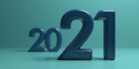 2021 new year change. Blue stone numbers with depth of field and blurred numbers on blue shades background. Close up view, abstract. 3d illustration