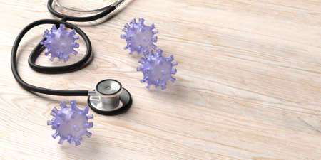 Flu coronavirus pandemic virus infection, health care treatment concept. Medical stethoscope and virus strain on wood background, copy space. 3d illustration