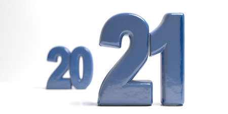 2021 new year change. Blue numbers with depth of field and blurred numbers on white background. Close up view, abstract. 3d illustration