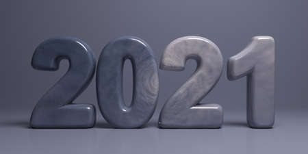 2021 new year. Gray blue color stone numbers isolated on grey background. Greeting card. 3d illustration